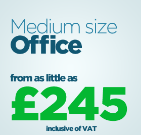 Medium size office from as little as £245 inc. VAT