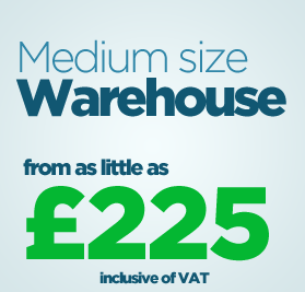 Medium size warehouse from as little as £225 inc. VAT