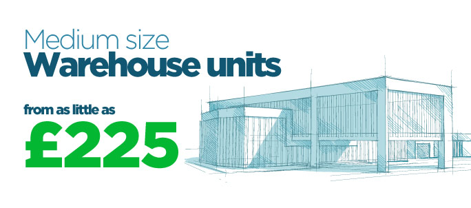 Medium size warehouse units from as little as £225